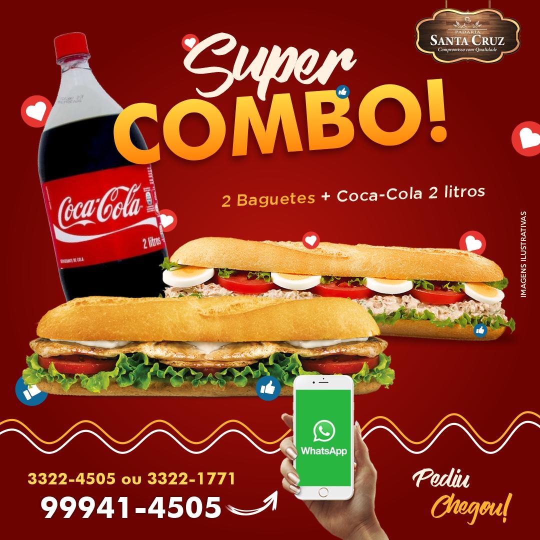 imagem de Combo 2 Baguetes + Uma Coca Cola 2L