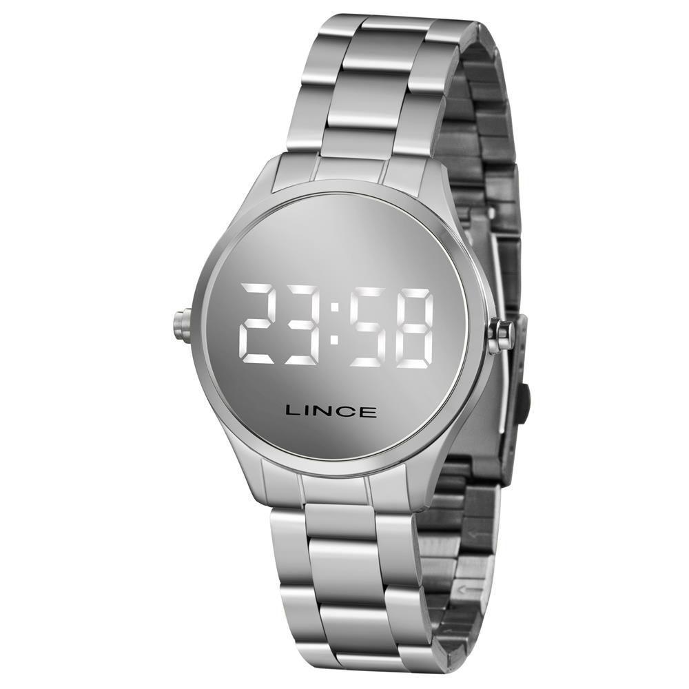imagem de Relógio Lince MDM4617L BXSX LED Digital feminino prata mostrador espelhado